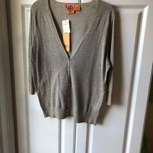 Tory Burch cotton/poly Lurex thin sweater